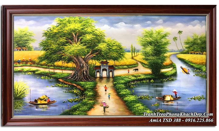 Tranh vẽ cảnh đường làng quê AmiA TSD 388 sơn dầu khổ lớn