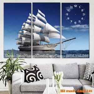 Tranh treo phòng khách đẹp AmiA 146 thuận buồm xuôi gió