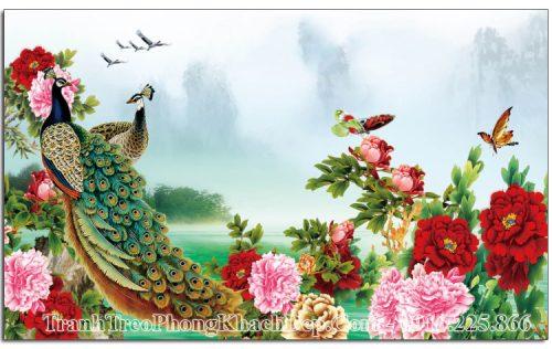 Tranh chim công hoa mẫu đơn amia OP15821780