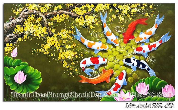 Tranh sơn dầu AmiA TSD 459 vẽ cá chép mai vàng ý nghĩa