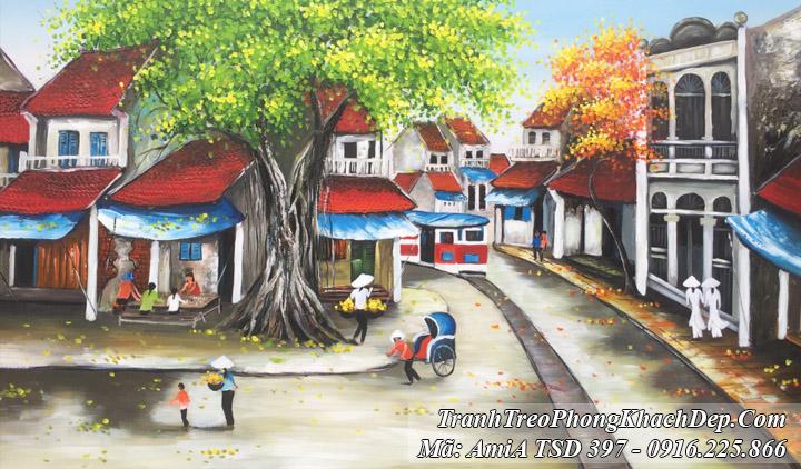 Tranh sơn dầu Amia 397 vẽ phong cảnh phố cổ xe điện