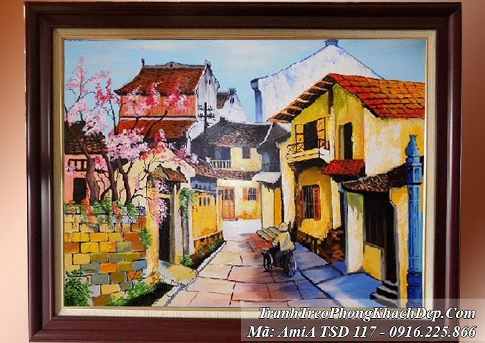 Tranh sơn dầu khổ nhỏ phố cổ Amia 117