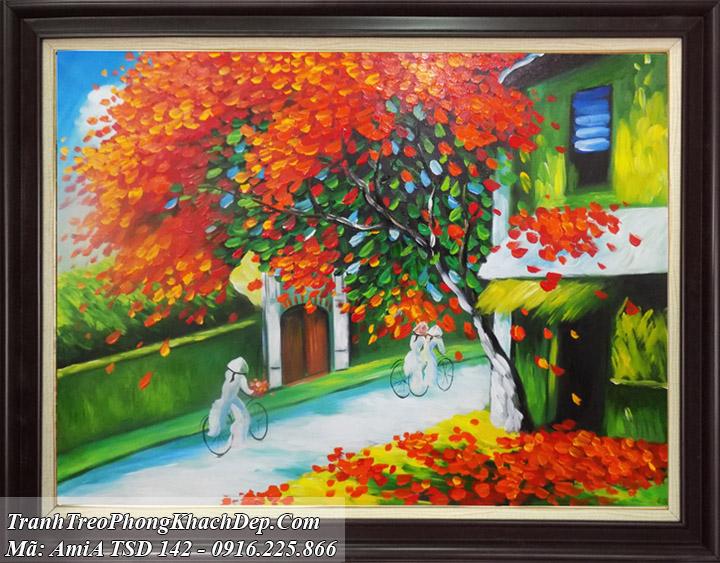 Tranh sơn dầu cây mùa thu trên phố cổ AmiA 142