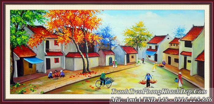 Tranh phố phường Hà Nội mùa Thu TSD 148