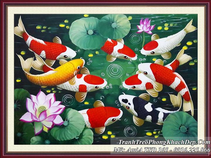 Tranh khổ nhỏ sơn dầu AmiA 165 cá chép hoa Sen