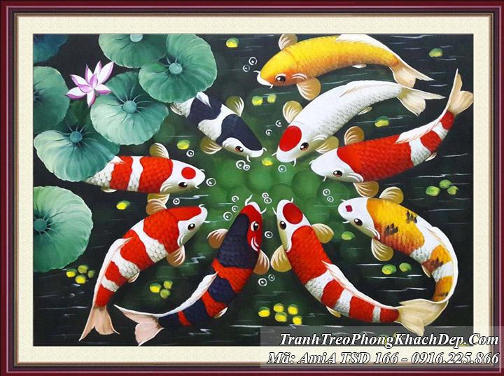 Tranh treo phòng khách sơn dầu khổ nhỏ cá chép hoa sen Amia 166
