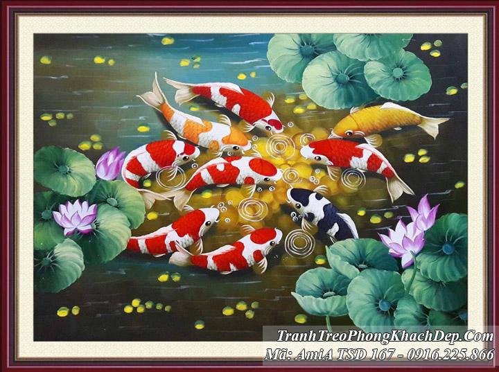 Tranh vẽ sơn dầu khổ nhỏ cá chép và hoa Sen TSD 167