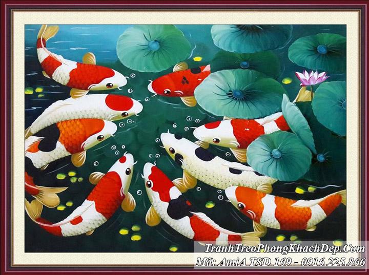 Tranh vẽ cá chép hoa sen khổ nho TSD 169