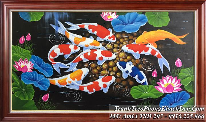 TSD 207 mẫu tranh sơn dầu cá chép hoa sen sỏi vàng AmiA