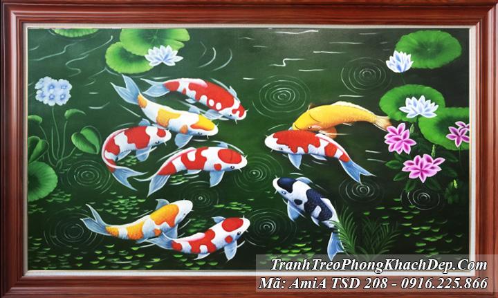 Tranh sơn dầu Amia 208 vẽ 9 chú cá chép và hoa sen