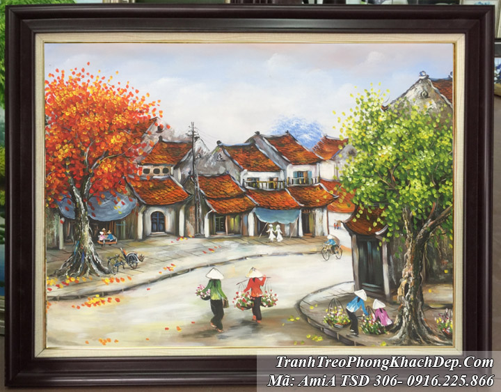 Tranh vẽ phố cổ khổ nhỏ Amia 306