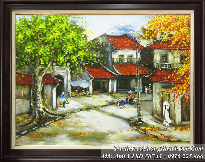 Tranh sơn dầu vẽ phố cổ AmiA 307 A1