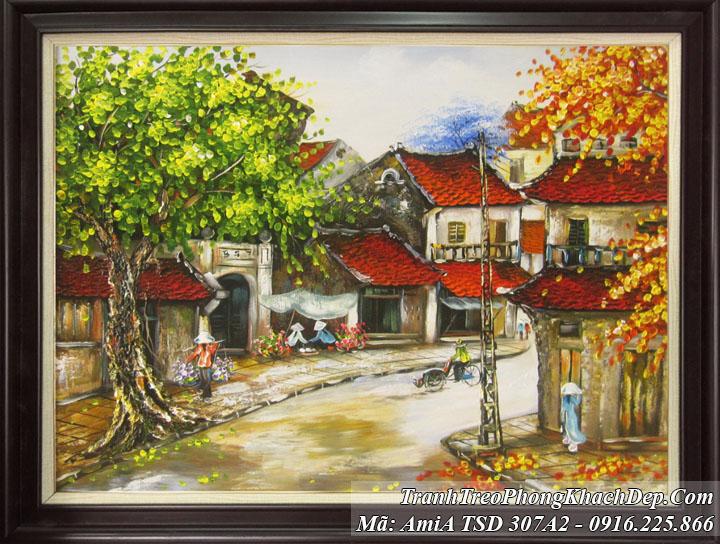 Tranh AmiA 307A2 vẽ sơn dầu phố cổ