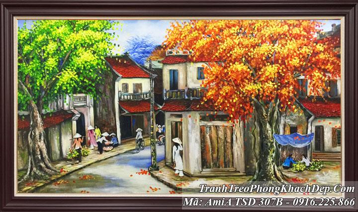 Tranh sơn dầu Amia 307B vẽ phố cổ ở góc cua hẹp