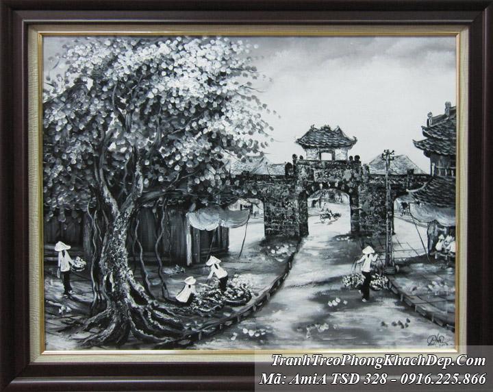 Tránh ơn dầu Amia 328 mẫu gốc đen trắng ô quan chưởng phố cổ