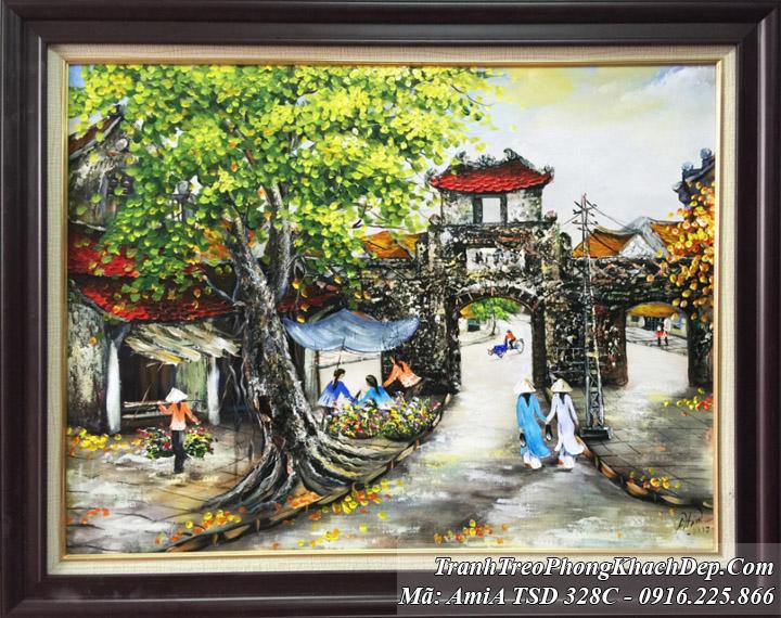 Tranh sơn dầu Amia 328C ô quan chưởng phố cổ