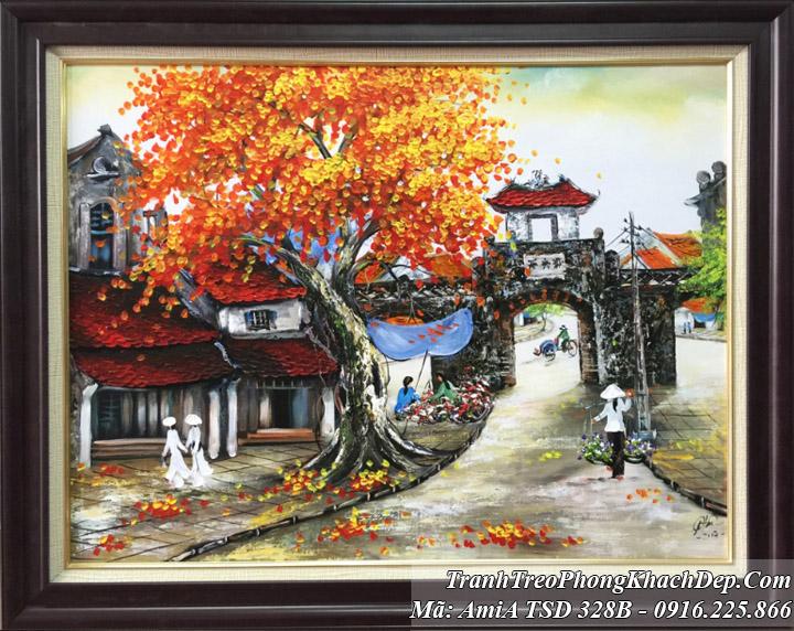Tranh sơn dầu khổ nhỏ phố cổ Amia 328B ô quan chưởng