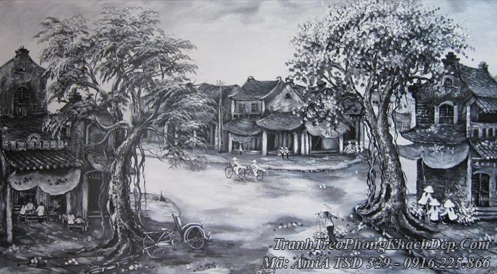 Tranh vẽ sơn dầu đẹp phố cổ Amia 329 đen trắng