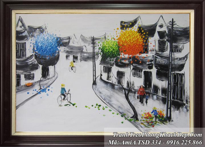 Tranh vẽ phố cổ đen trắng khổ nhỏ AmiA 334
