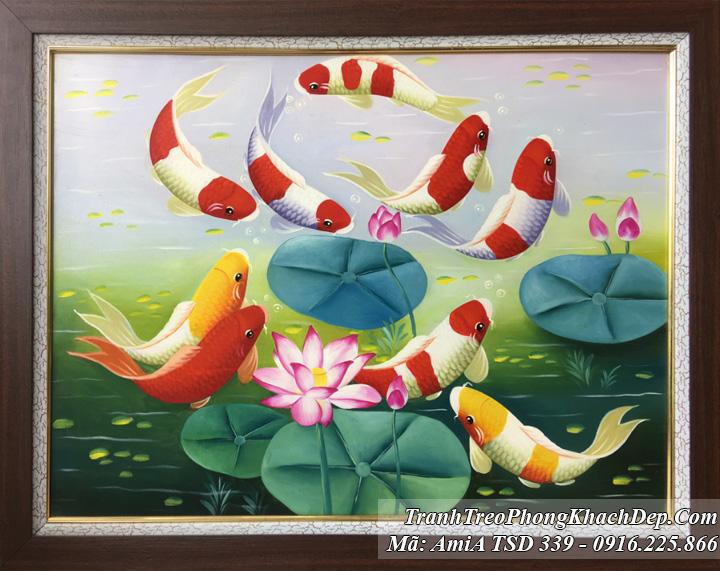 Tranh vẽ cá chép và bông hoa Sen khổ nhỏ TSD 339