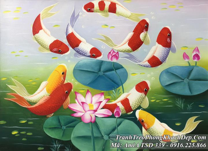 Tranh cá chép hoa Sen Amia tSD 339 khổ nhỏ