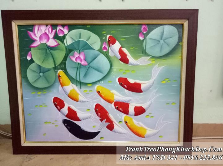 Tranh vẽ sơn dầu Amia 341 cá chép và hoa sen