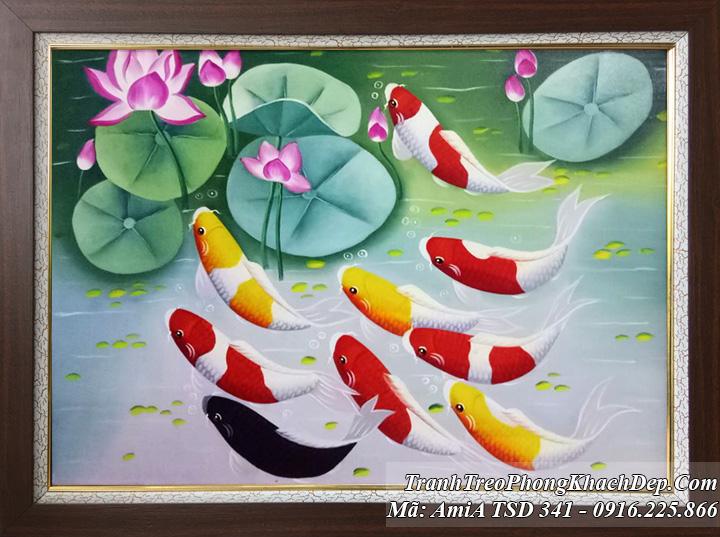 Tranh vẽ sơn dầu khổ nhỏ 9 chú cá chép và hoa sen mã TSD 341