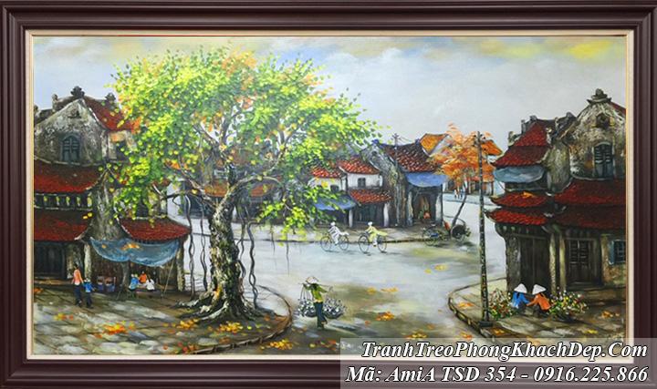 Tranh phố cổ sơn dầu đẹp Amia 354
