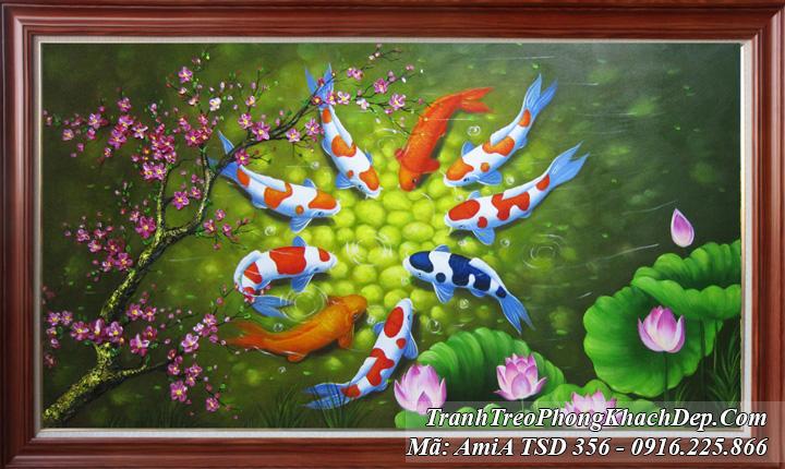 Tranh sơn dầu cá chép hoa Sen cành đào TSD 356