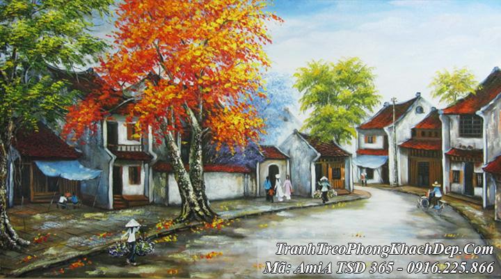 Tranh sơn dầu Amia 365 vẽ phố cổ mùa Thu