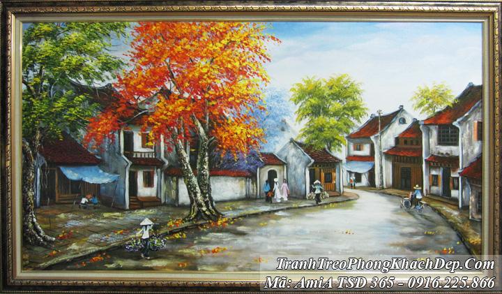 Tranh phố cổ mùa Thu Amia 365 sơn dầu