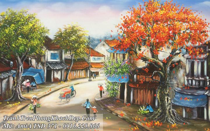 Tranh vẽ sơn dầu AmiA 371 phố cổ xích lô gánh hàng rong