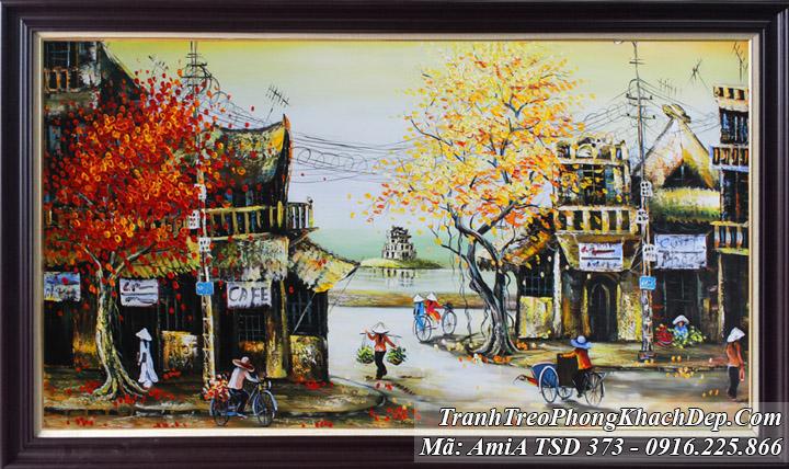 Tranh vẽ sơn dầu phố cổ Amia 373 hồ gươm tháp Rùa