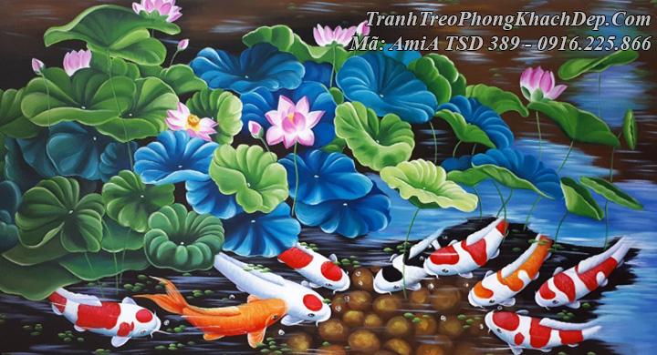 Tranh cá chép hoa sen vẽ sơn dầu ý nghĩa mã Amia 389