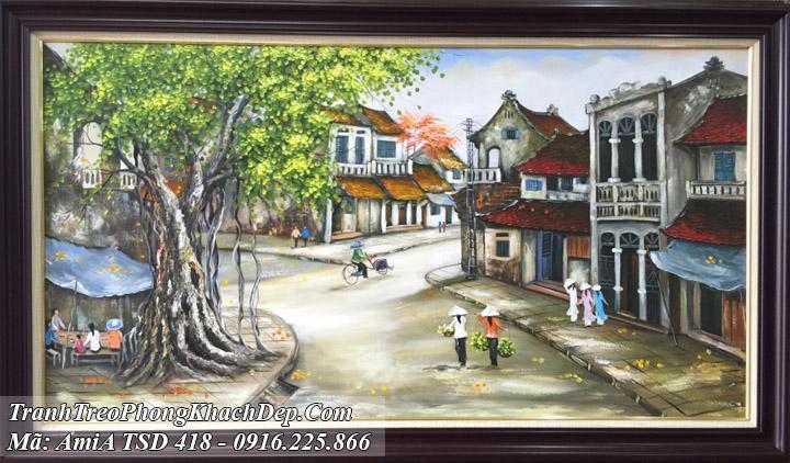 Tranh vẽ phố cổ sơn dầu Amia 418