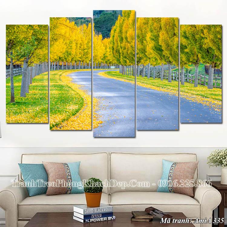Tranh treo tường phòng khách mùa thu lá vàng Amia 335