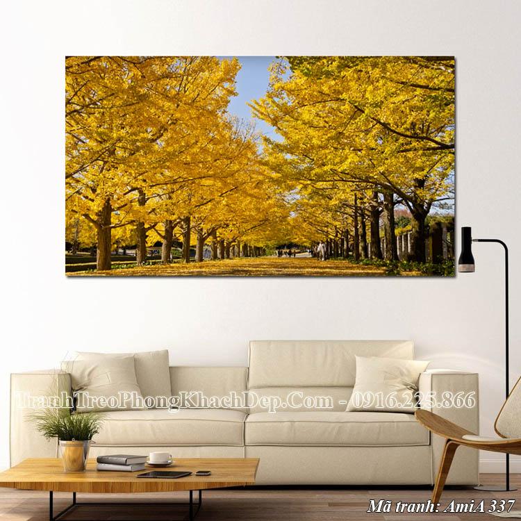 Tranh lá vàng mùa thu AmiA 337 treo tường