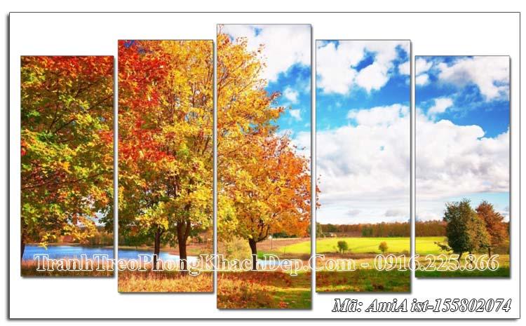 Tranh Amia 155802074 phong cảnh mùa Thu ghép 5 tấm