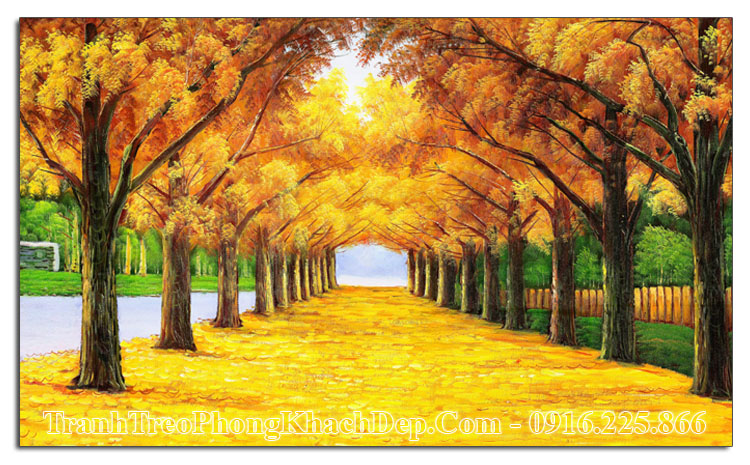 Tranh làm theo yêu cầu mùa Thu lá vàng amia 1580