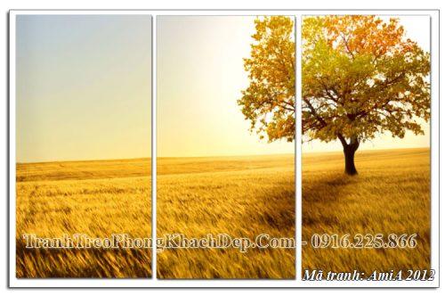 Tranh ghép 3 tấm AmiA 2012 cánh đồng vàng mùa Thu