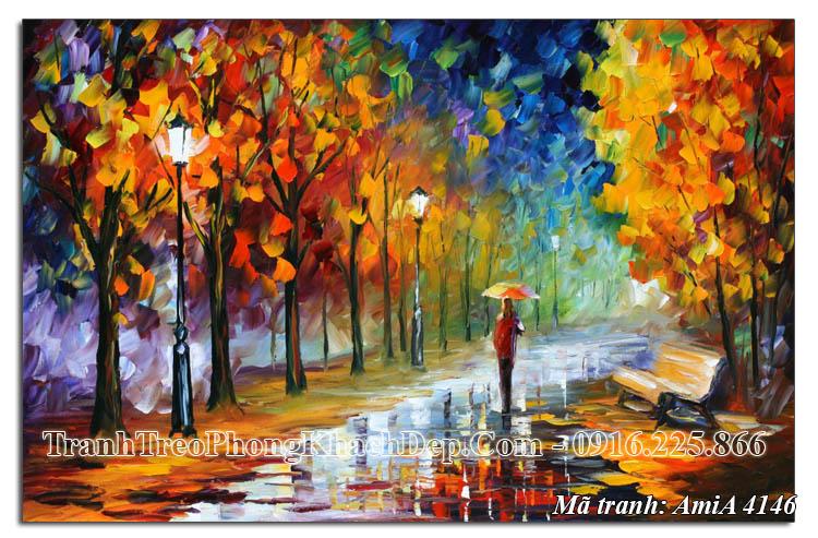 Tranh công viên mùa thu giả sơn dầu Amia 4146