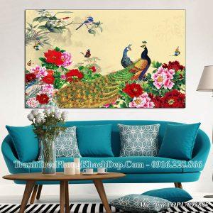 Tranh treo phòng khách chim công mẫu đơn AmiA OP17093885
