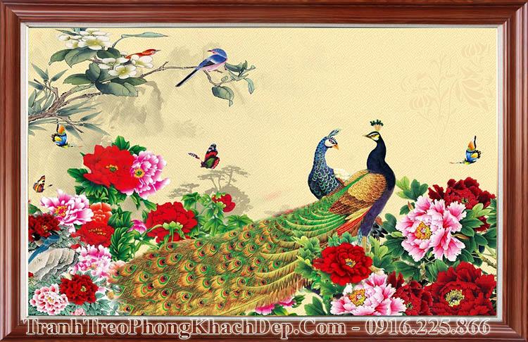 Tranh chim công một tấm có khung khổ lớn AmiA OP17093885