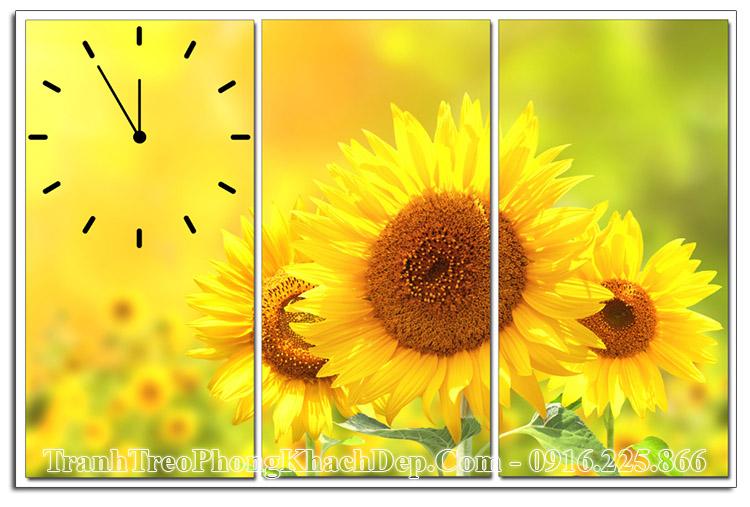 Tranh hoa hướng dương ghép 3 tấm có đồng hồ AmiA ist-610760712
