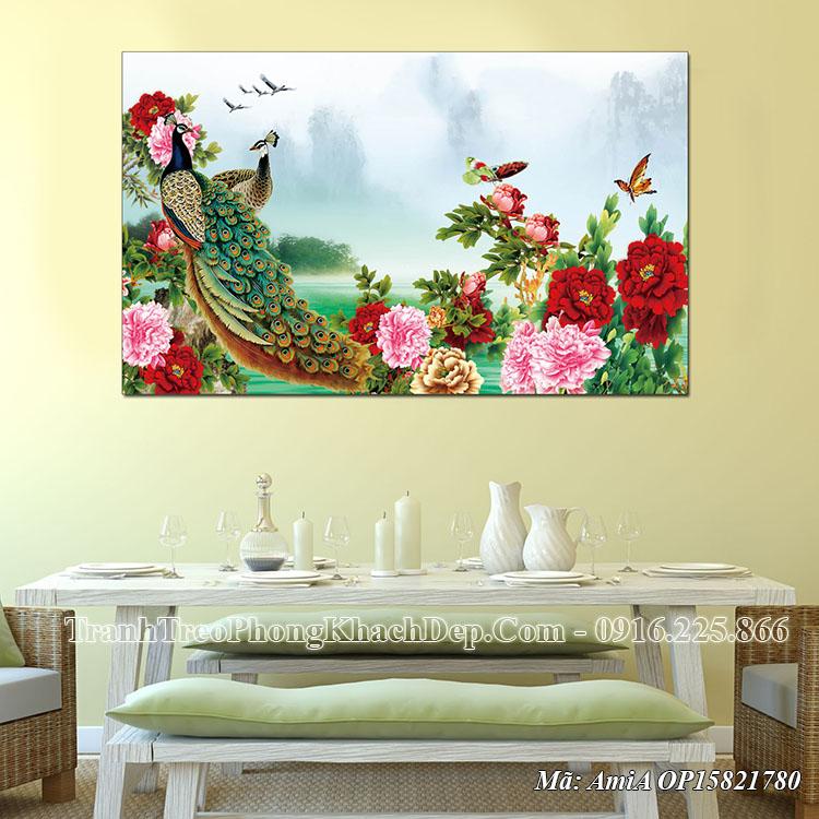 Tranh chim công phong thủy treo phòng khách đẹp AmiA OP15821780