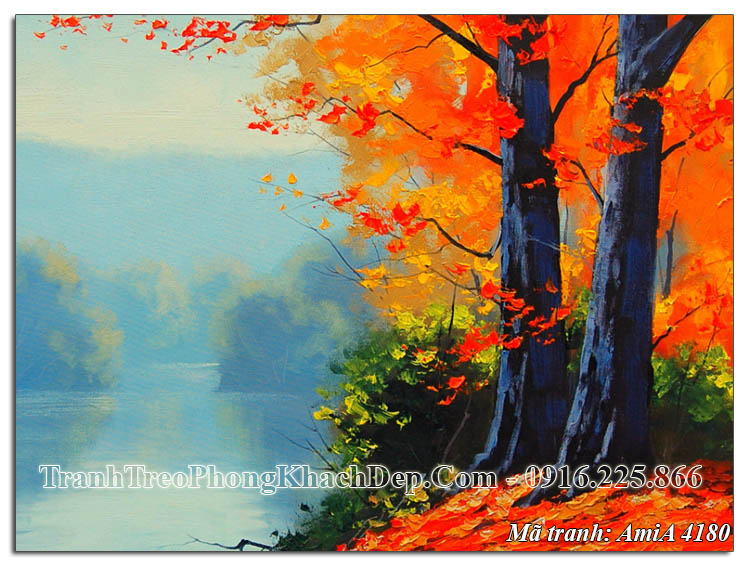 Tranh treo tường cây mùa Thu lá vàng AmiA 4180