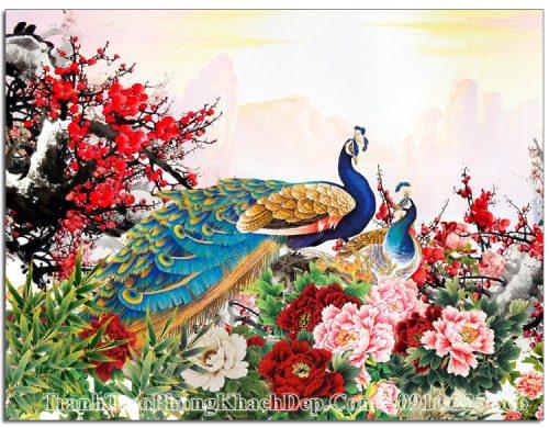 Tranh AmiA 1604 chim công hoa mẫu đơn