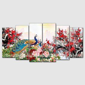 Tranh treo tường phòng khách amiA 1604 chim công hoa mẫu đơn