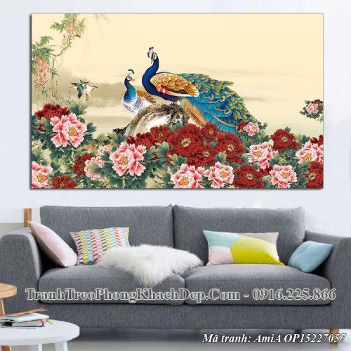 Tranh phong thủy chim công hoa mẫu đơn Amia OP15227057