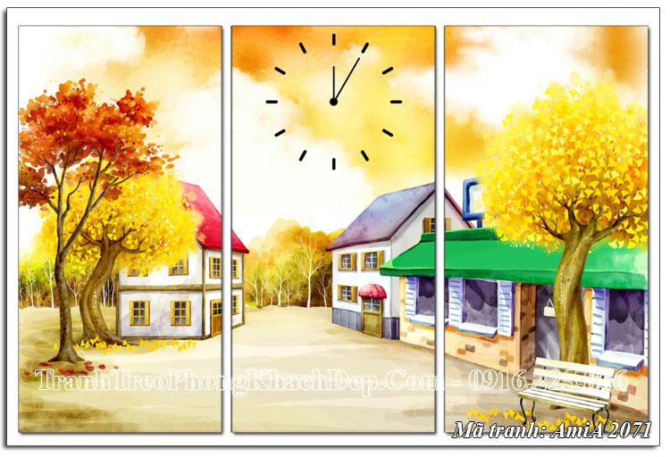 Tranh đồng hồ ghép 3 tấm ngôi nhà mùa Thu
